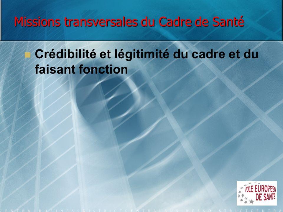 Missions transversales du Cadre de Santé Crédibilité et légitimité du cadre et du faisant fonction