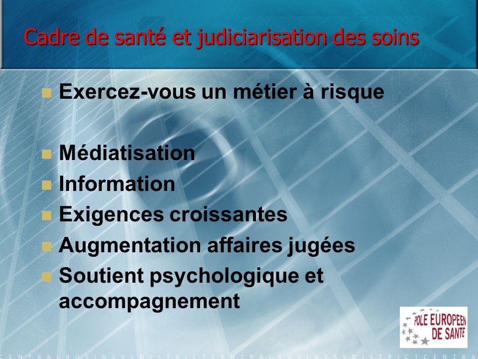 Cadre de santé et judiciarisation des soins Exercez-vous un métier à risque Médiatisation Information Exigences croissantes Augmentation affaires jugé