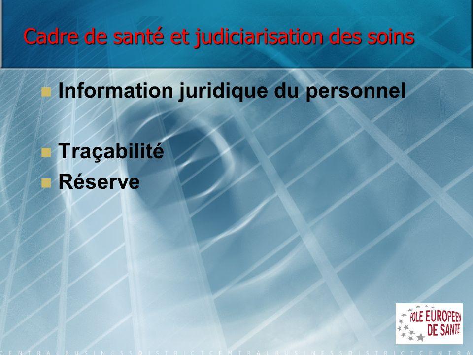 Cadre de santé et judiciarisation des soins Information juridique du personnel Traçabilité Réserve