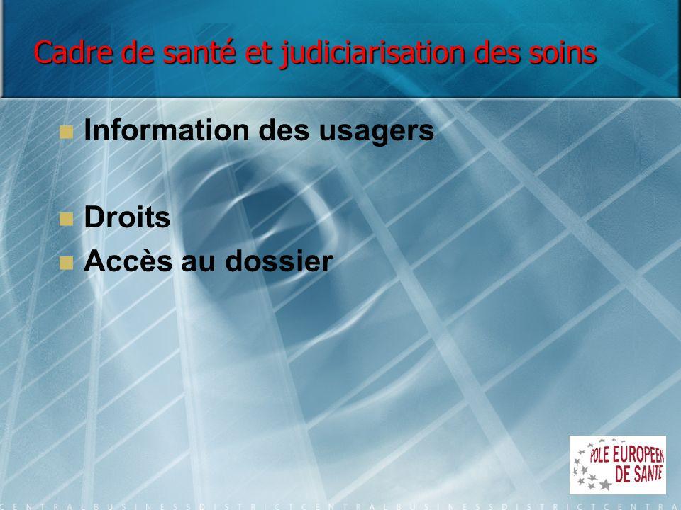 Cadre de santé et judiciarisation des soins Information des usagers Droits Accès au dossier