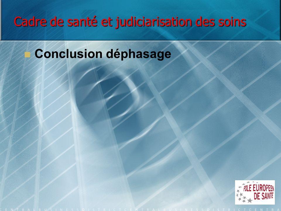 Cadre de santé et judiciarisation des soins Conclusion déphasage