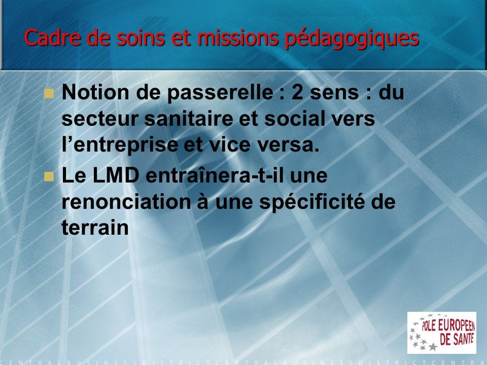 Cadre de soins et missions pédagogiques Notion de passerelle : 2 sens : du secteur sanitaire et social vers lentreprise et vice versa. Le LMD entraîne