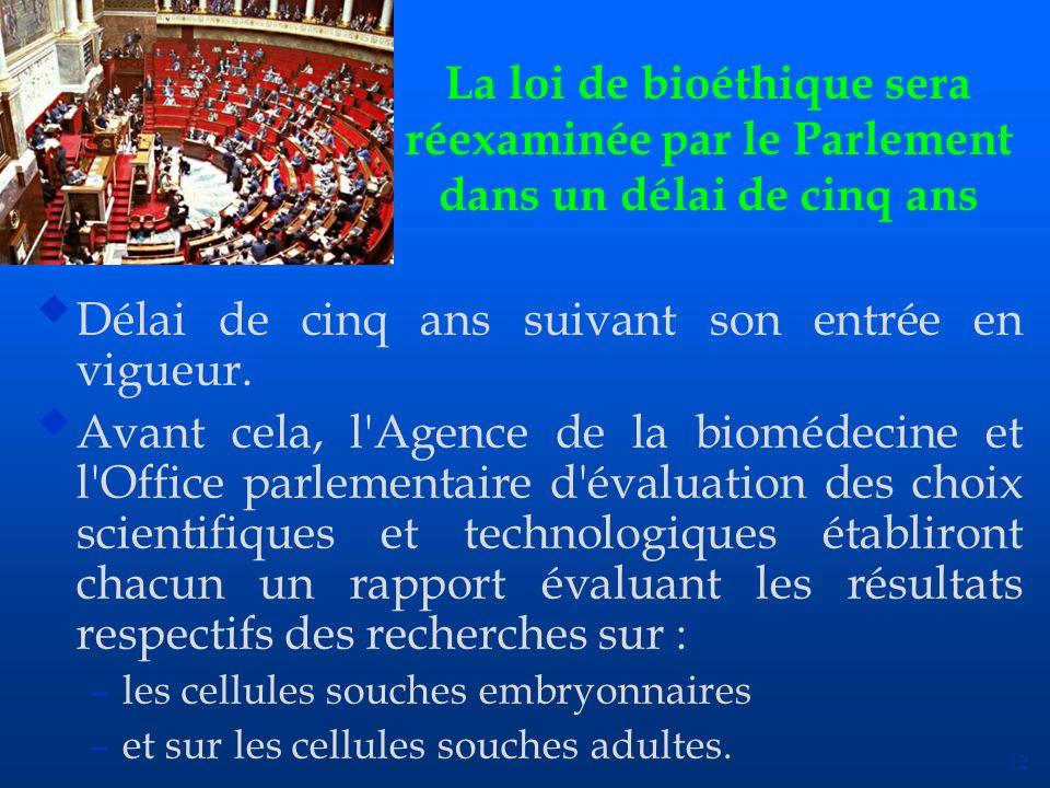 12 La loi de bioéthique sera réexaminée par le Parlement dans un délai de cinq ans uDélai de cinq ans suivant son entrée en vigueur. uAvant cela, l'Ag