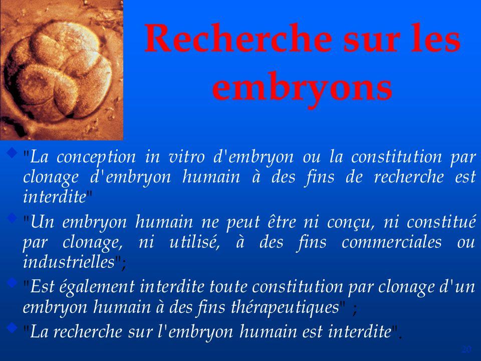 20 Recherche sur les embryons u