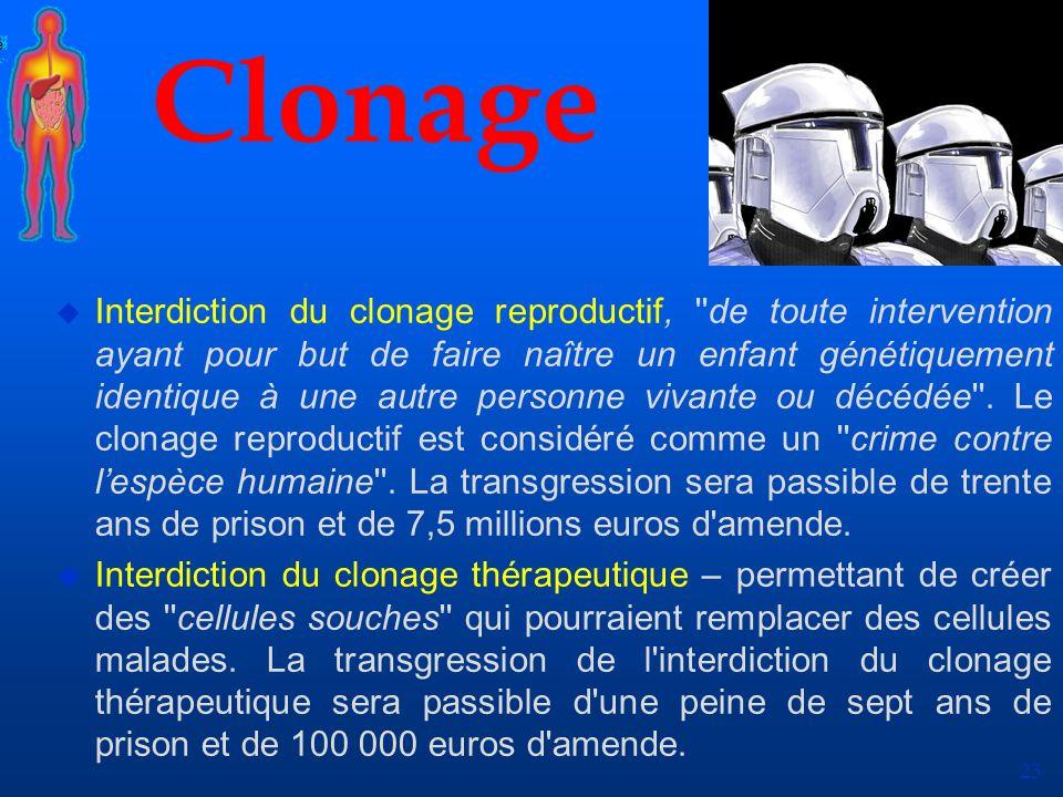 23 Clonage u Interdiction du clonage reproductif, ''de toute intervention ayant pour but de faire naître un enfant génétiquement identique à une autre