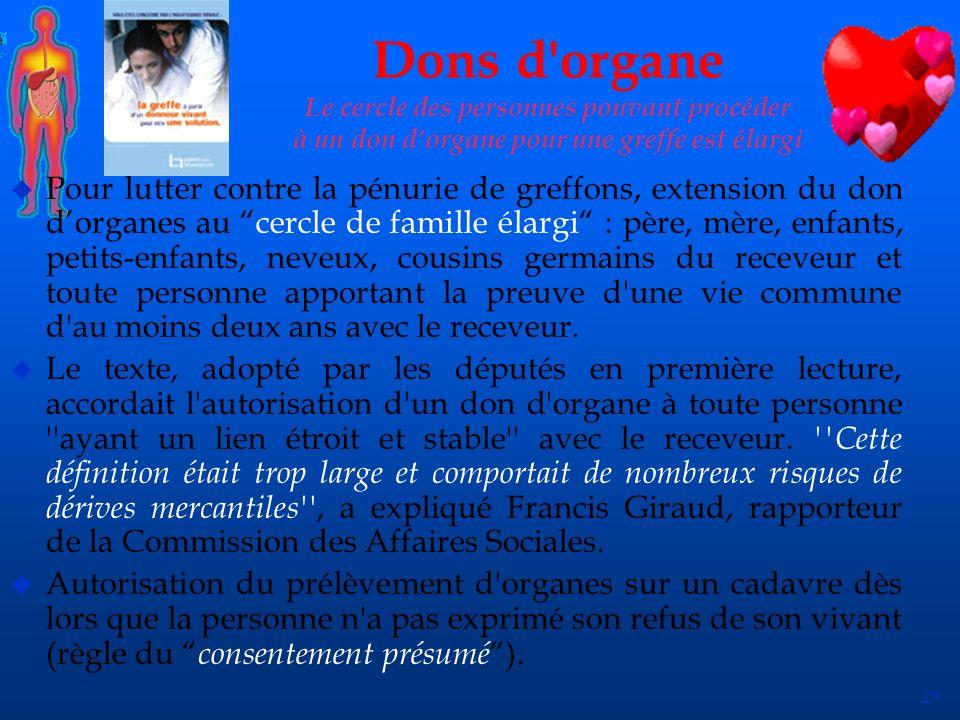 29 Dons d'organe Le cercle des personnes pouvant procéder à un don dorgane pour une greffe est élargi u Pour lutter contre la pénurie de greffons, ext