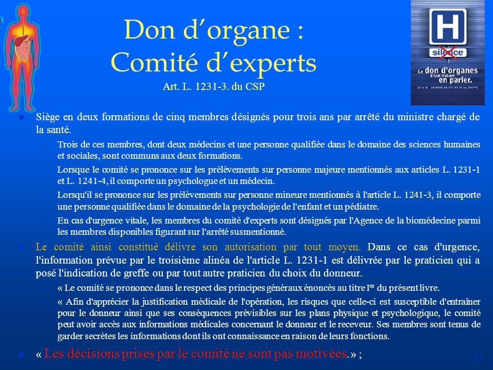 31 Don dorgane : Comité dexperts Art. L. 1231-3. du CSP u Siège en deux formations de cinq membres désignés pour trois ans par arrêté du ministre char