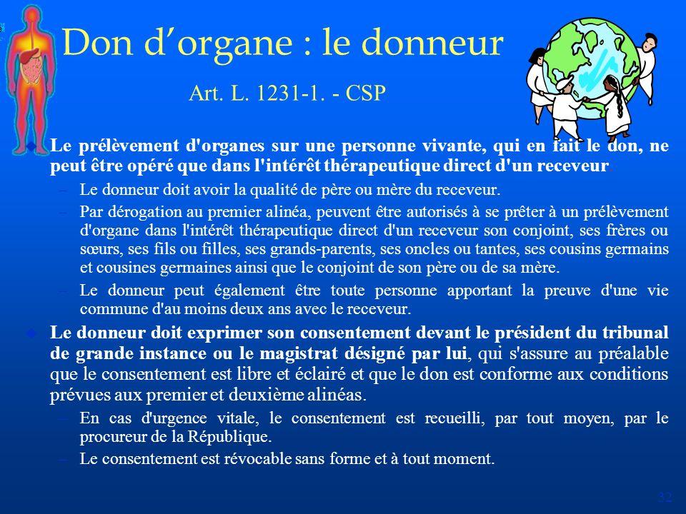 32 Don dorgane : le donneur Art. L. 1231-1. - CSP u Le prélèvement d'organes sur une personne vivante, qui en fait le don, ne peut être opéré que dans