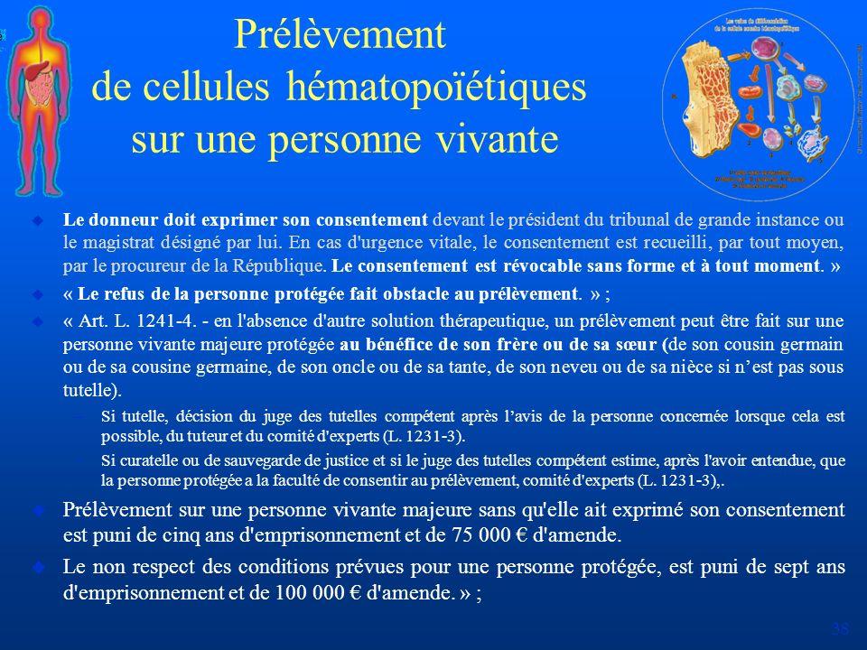 38 Prélèvement de cellules hématopoïétiques sur une personne vivante u Le donneur doit exprimer son consentement devant le président du tribunal de gr