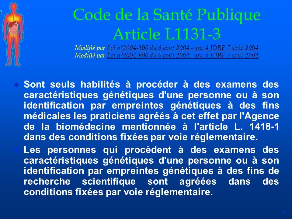 4 Code de la Santé Publique Article L1131-3 Modifié par Loi n°2004-800 du 6 août 2004 - art. 4 JORF 7 août 2004 Modifié par Loi n°2004-800 du 6 août 2