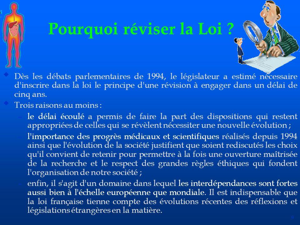 9 Pourquoi réviser la Loi ? uDès les débats parlementaires de 1994, le législateur a estimé nécessaire d'inscrire dans la loi le principe d'une révisi