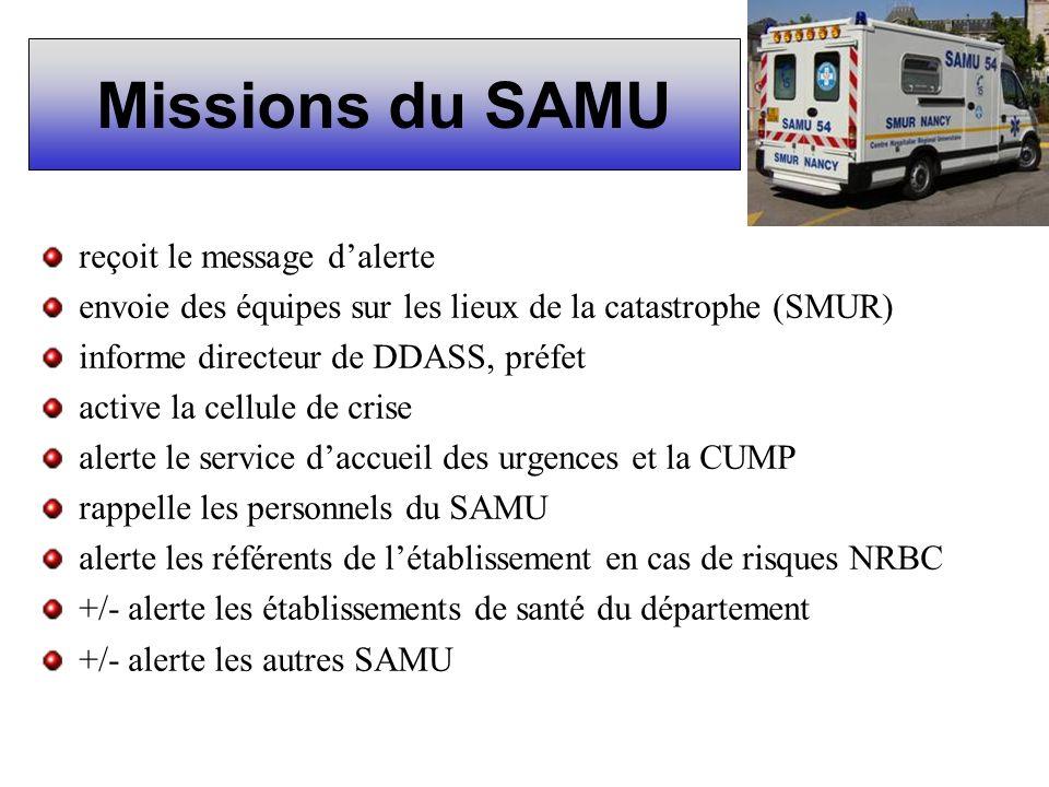 Missions du SAMU reçoit le message dalerte envoie des équipes sur les lieux de la catastrophe (SMUR) informe directeur de DDASS, préfet active la cell