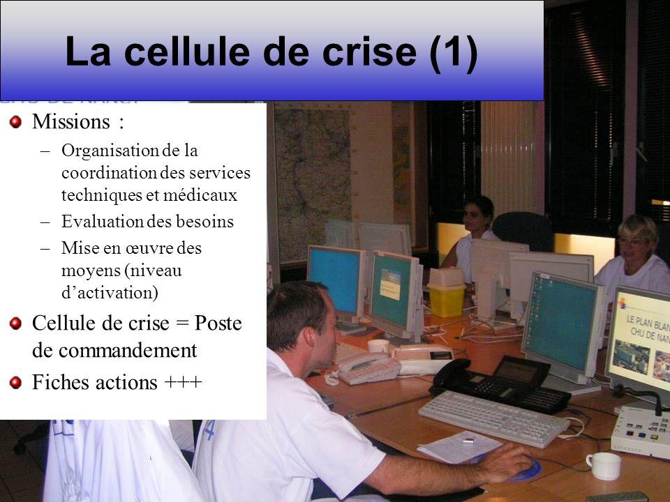La cellule de crise (1) Missions : –Organisation de la coordination des services techniques et médicaux –Evaluation des besoins –Mise en œuvre des moy
