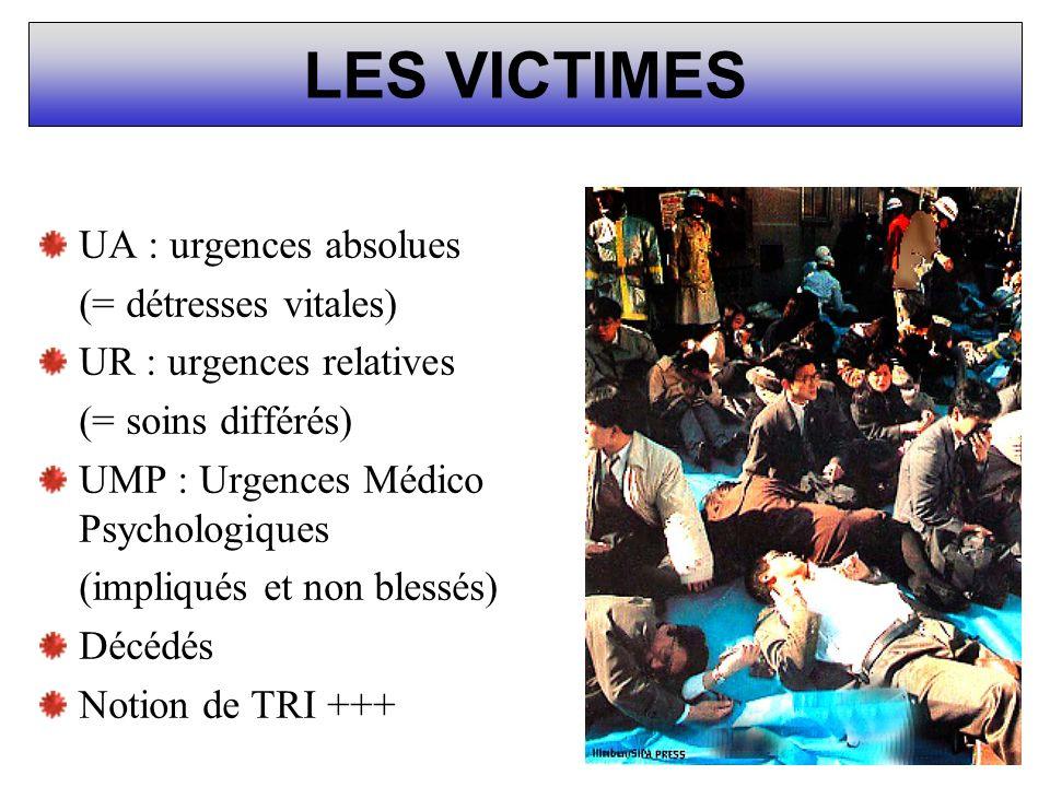 LES VICTIMES UA : urgences absolues (= détresses vitales) UR : urgences relatives (= soins différés) UMP : Urgences Médico Psychologiques (impliqués e