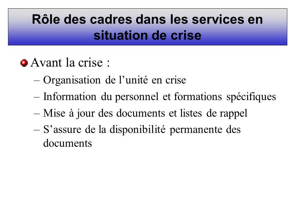 Rôle des cadres dans les services en situation de crise Avant la crise : –Organisation de lunité en crise –Information du personnel et formations spéc