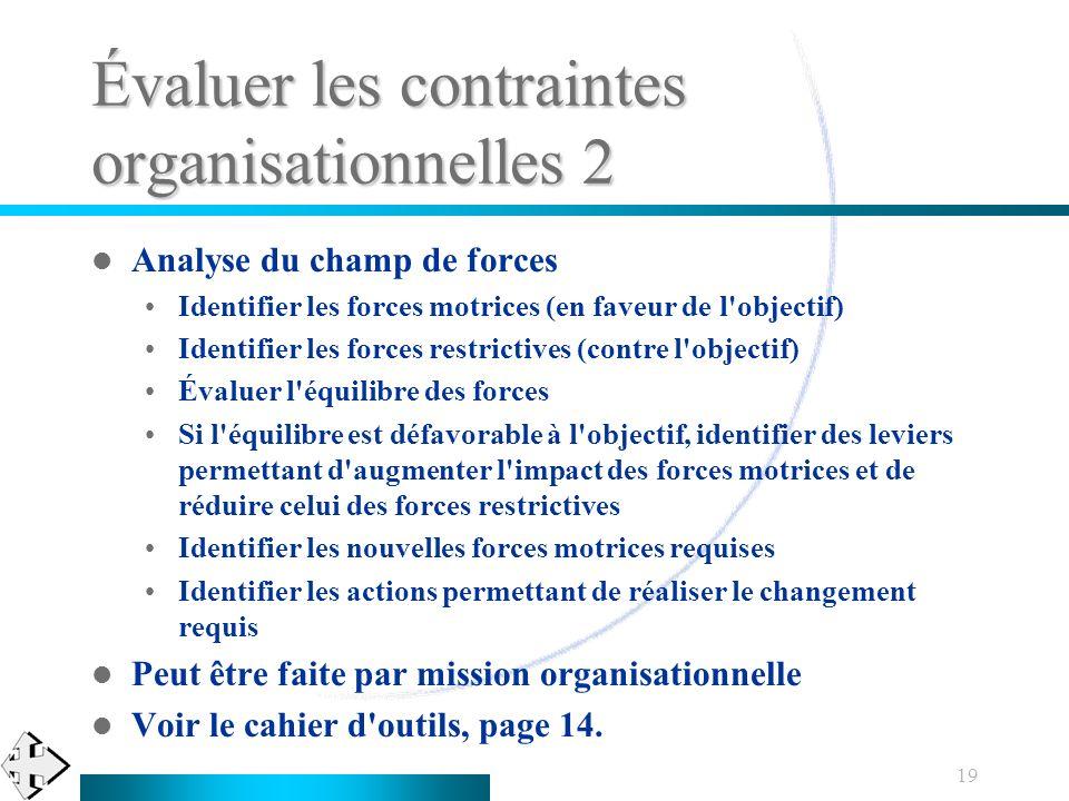 19 Évaluer les contraintes organisationnelles 2 Analyse du champ de forces Identifier les forces motrices (en faveur de l'objectif) Identifier les for