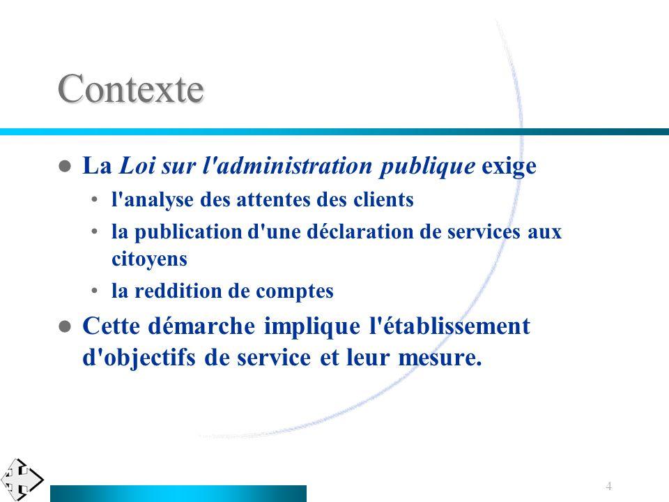 4 Contexte La Loi sur l'administration publique exige l'analyse des attentes des clients la publication d'une déclaration de services aux citoyens la