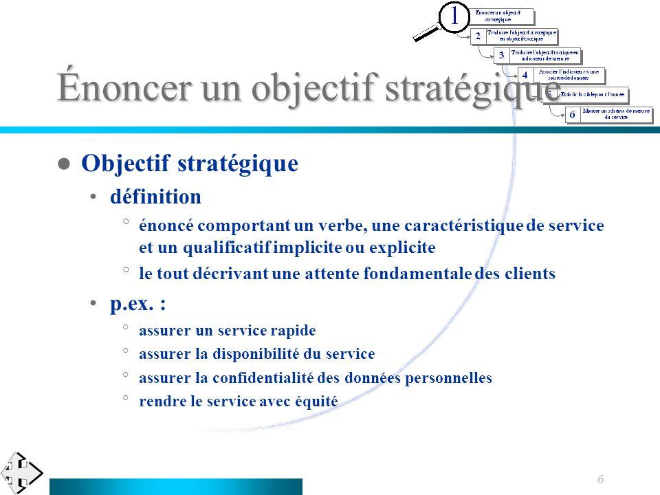 6 Énoncer un objectif stratégique Objectif stratégique définition °énoncé comportant un verbe, une caractéristique de service et un qualificatif impli