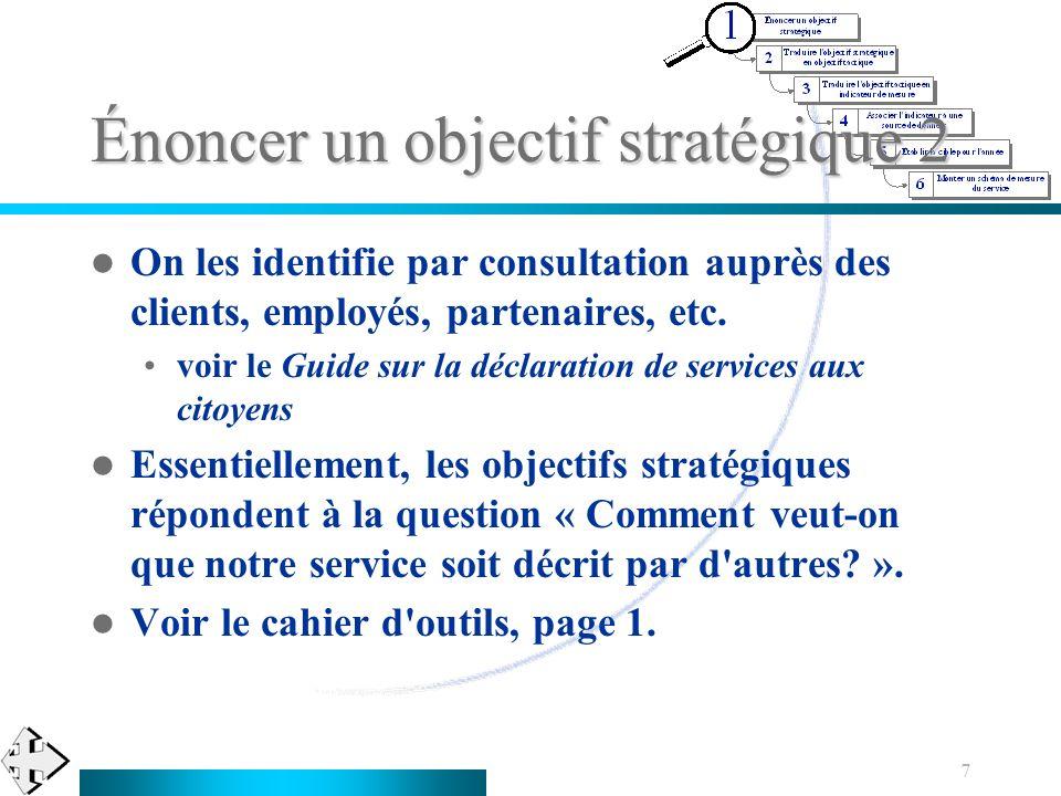 7 Énoncer un objectif stratégique 2 On les identifie par consultation auprès des clients, employés, partenaires, etc. voir le Guide sur la déclaration