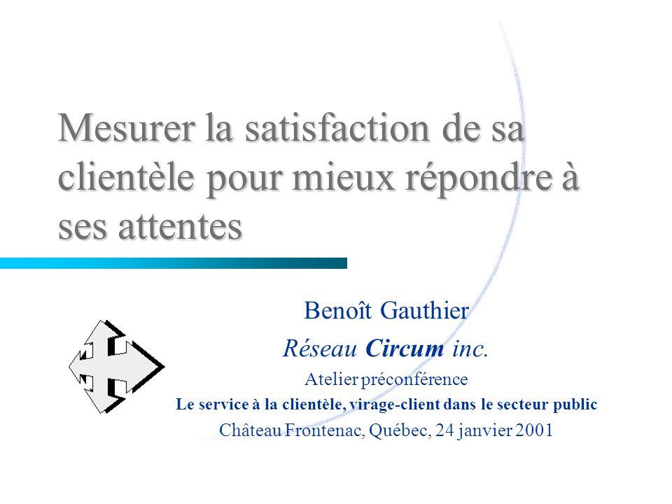 Mesurer la satisfaction de sa clientèle pour mieux répondre à ses attentes Benoît Gauthier Réseau Circum inc. Atelier préconférence Le service à la cl