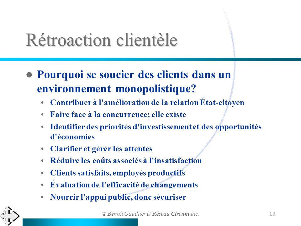 © Benoît Gauthier et Réseau Circum inc. 10 Rétroaction clientèle Pourquoi se soucier des clients dans un environnement monopolistique? Contribuer à l'