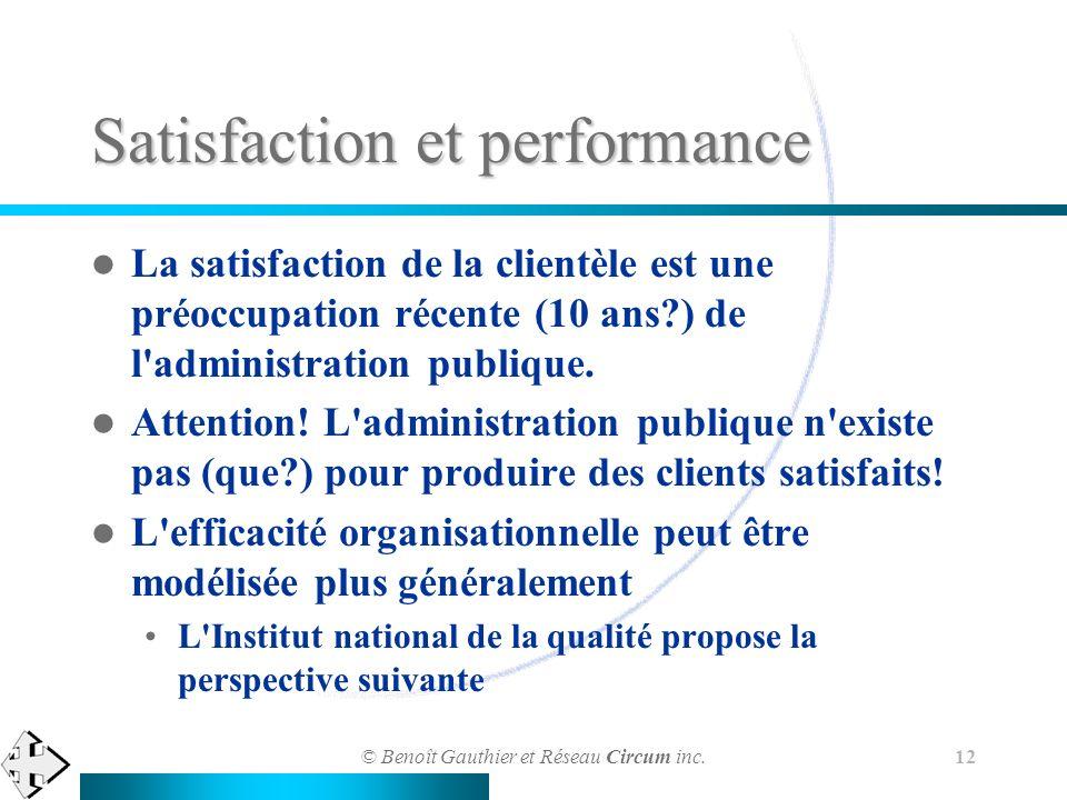 © Benoît Gauthier et Réseau Circum inc. 12 La satisfaction de la clientèle est une préoccupation récente (10 ans?) de l'administration publique. Atten