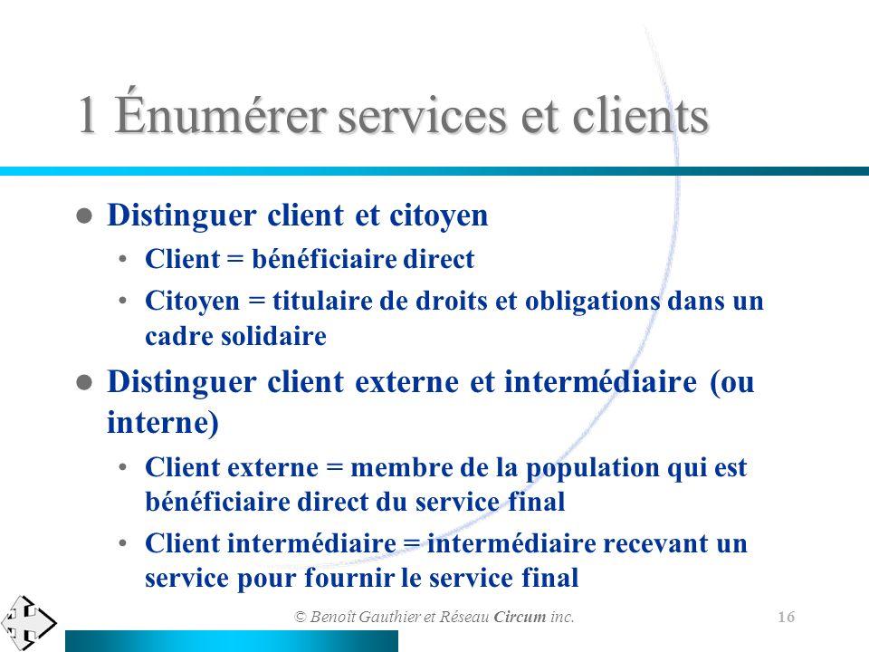 © Benoît Gauthier et Réseau Circum inc. 16 1 Énumérer services et clients Distinguer client et citoyen Client = bénéficiaire direct Citoyen = titulair