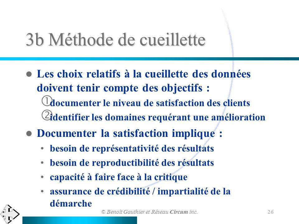 © Benoît Gauthier et Réseau Circum inc. 26 3b Méthode de cueillette Les choix relatifs à la cueillette des données doivent tenir compte des objectifs