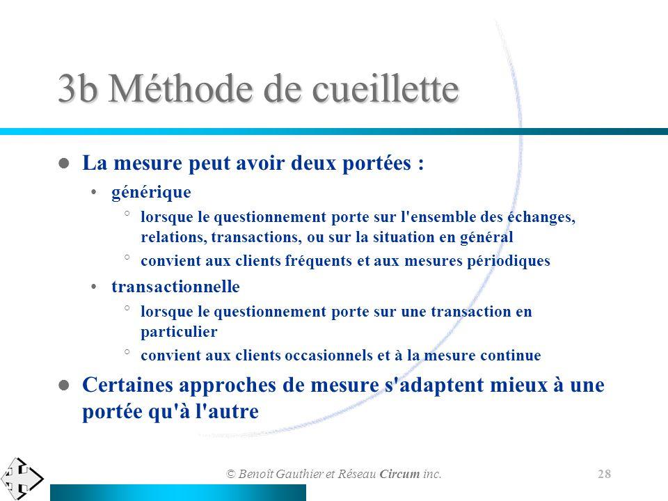 © Benoît Gauthier et Réseau Circum inc. 28 3b Méthode de cueillette La mesure peut avoir deux portées : générique °lorsque le questionnement porte sur