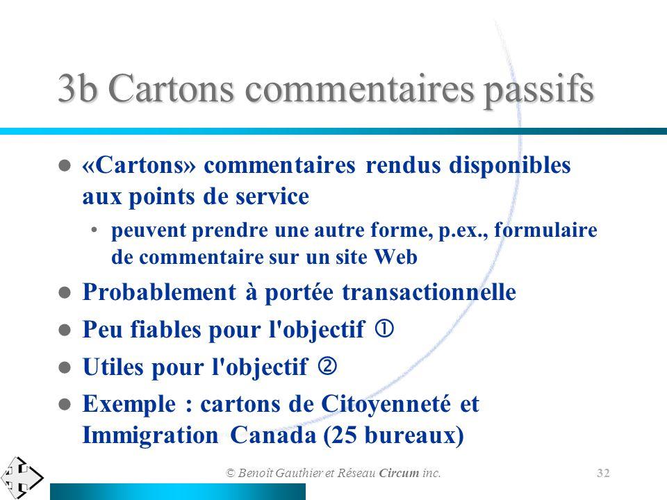 © Benoît Gauthier et Réseau Circum inc. 32 3b Cartons commentaires passifs «Cartons» commentaires rendus disponibles aux points de service peuvent pre