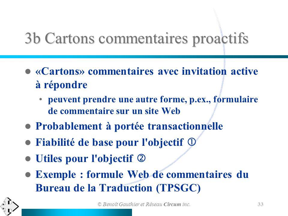 © Benoît Gauthier et Réseau Circum inc. 33 3b Cartons commentaires proactifs «Cartons» commentaires avec invitation active à répondre peuvent prendre