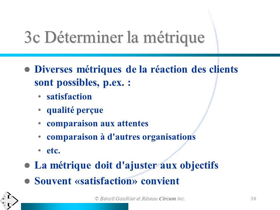 © Benoît Gauthier et Réseau Circum inc. 38 3c Déterminer la métrique Diverses métriques de la réaction des clients sont possibles, p.ex. : satisfactio