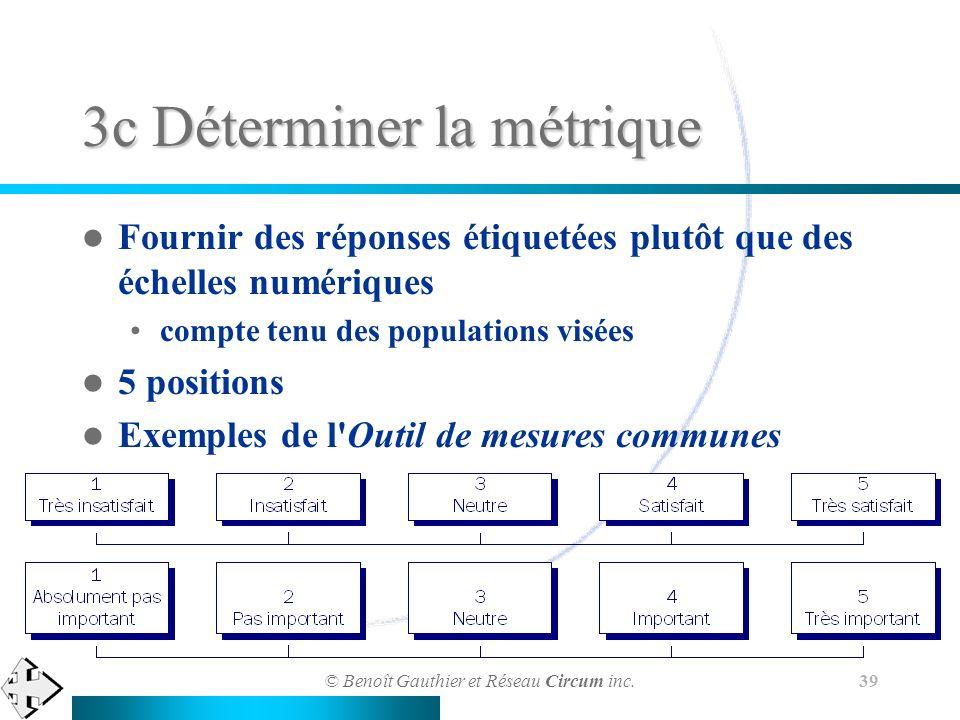 © Benoît Gauthier et Réseau Circum inc. 39 3c Déterminer la métrique Fournir des réponses étiquetées plutôt que des échelles numériques compte tenu de