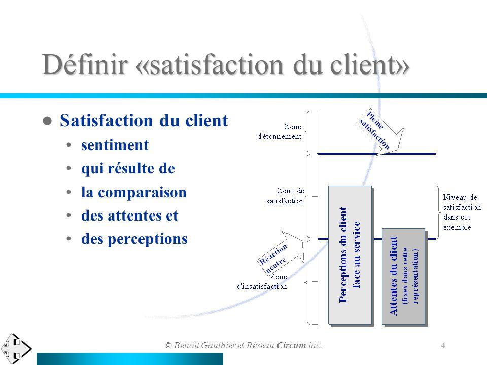 © Benoît Gauthier et Réseau Circum inc. 4 Satisfaction du client sentiment qui résulte de la comparaison des attentes et des perceptions Définir «sati