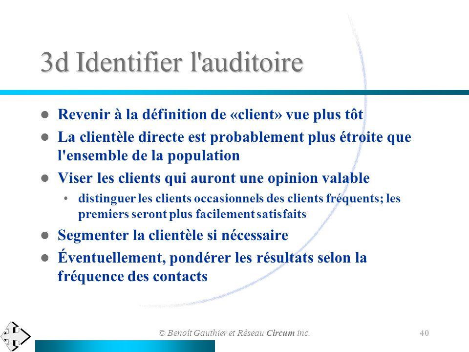 © Benoît Gauthier et Réseau Circum inc. 40 3d Identifier l'auditoire Revenir à la définition de «client» vue plus tôt La clientèle directe est probabl