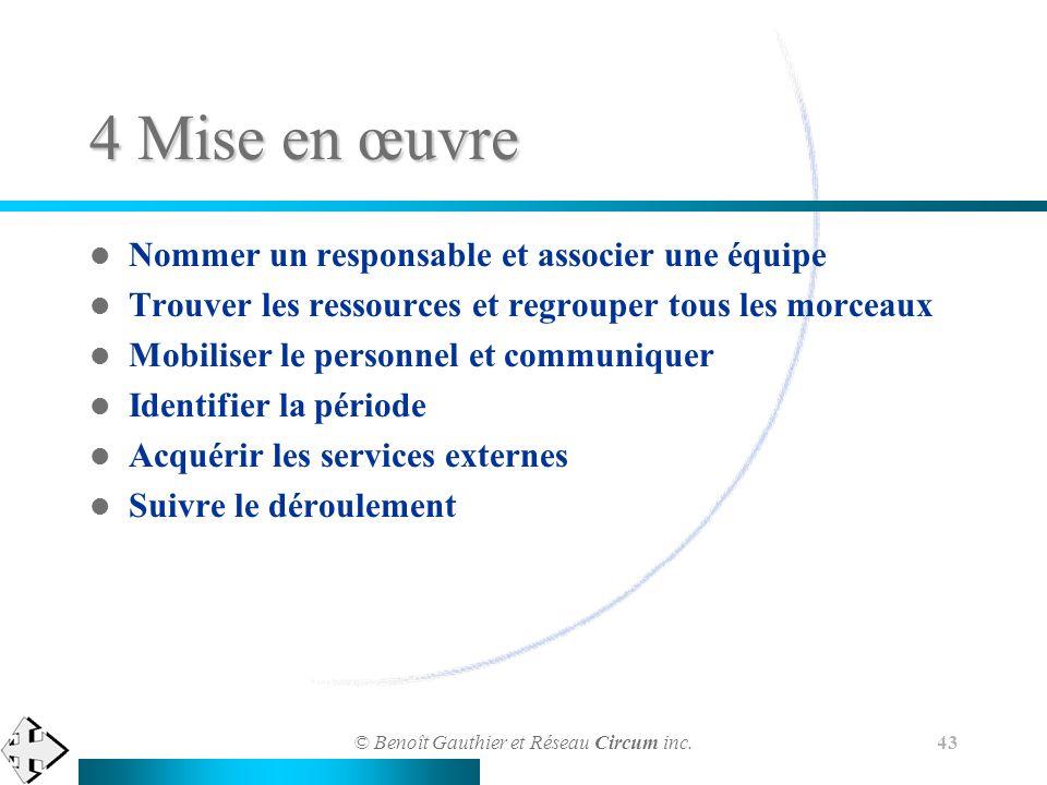 © Benoît Gauthier et Réseau Circum inc. 43 4 Mise en œuvre Nommer un responsable et associer une équipe Trouver les ressources et regrouper tous les m