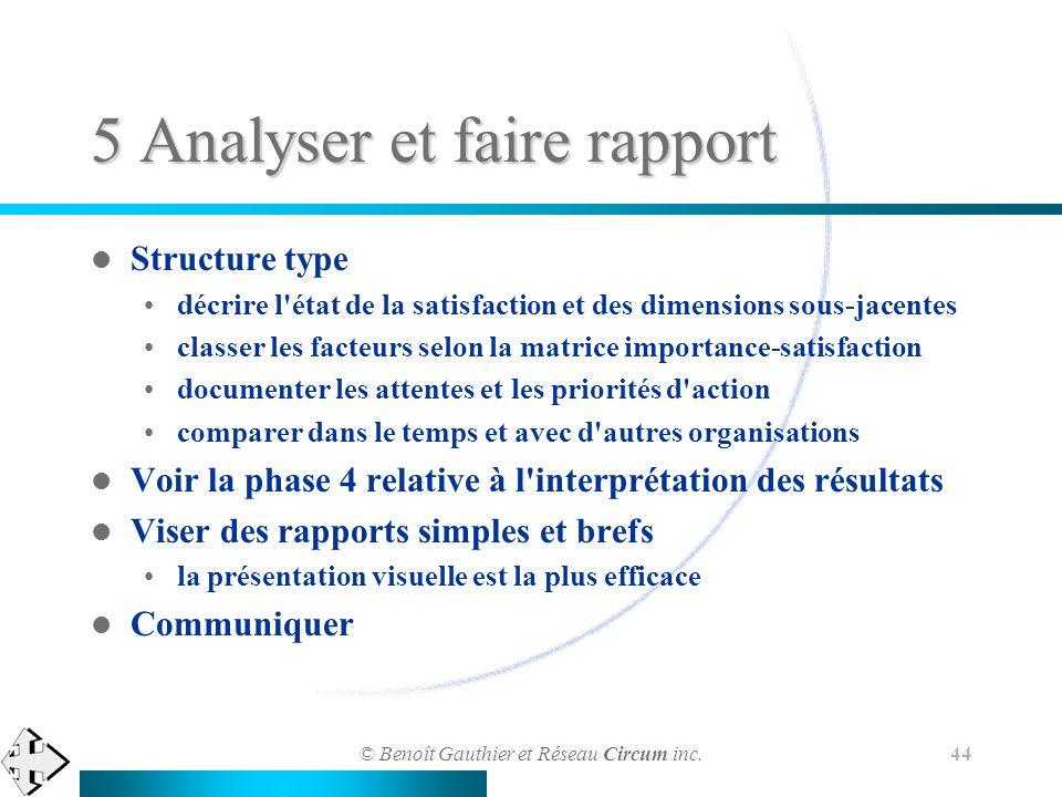 © Benoît Gauthier et Réseau Circum inc. 44 5 Analyser et faire rapport Structure type décrire l'état de la satisfaction et des dimensions sous-jacente