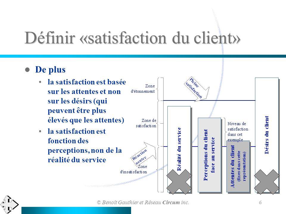© Benoît Gauthier et Réseau Circum inc. 6 Définir «satisfaction du client» De plus la satisfaction est basée sur les attentes et non sur les désirs (q