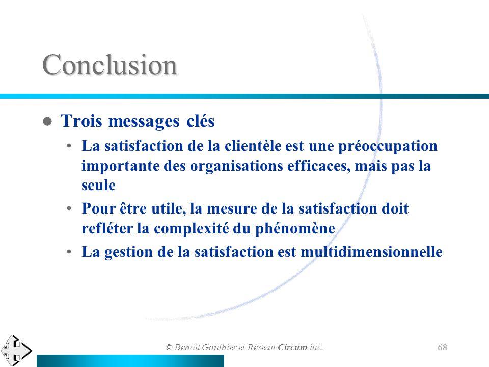 © Benoît Gauthier et Réseau Circum inc. 68 Conclusion Trois messages clés La satisfaction de la clientèle est une préoccupation importante des organis