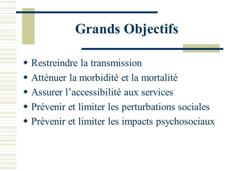 Grands Objectifs Restreindre la transmission Atténuer la morbidité et la mortalité Assurer laccessibilité aux services Prévenir et limiter les perturb
