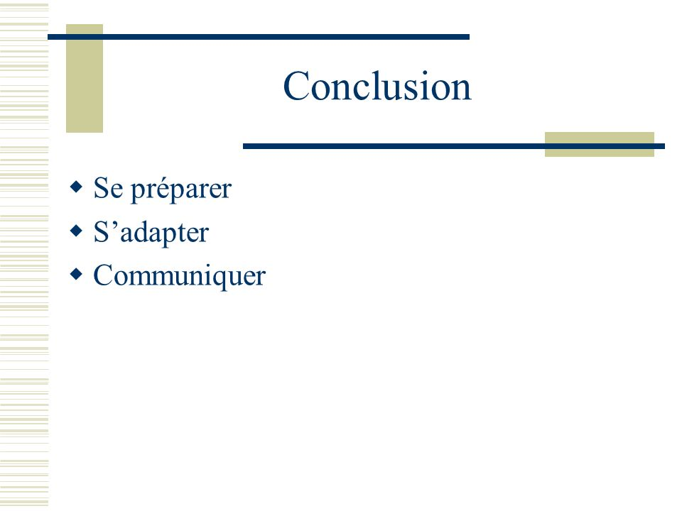 Conclusion Se préparer Sadapter Communiquer