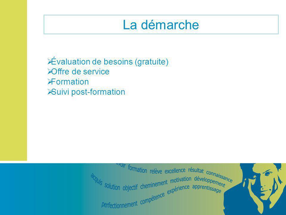 La démarche Évaluation de besoins (gratuite) Offre de service Formation Suivi post-formation