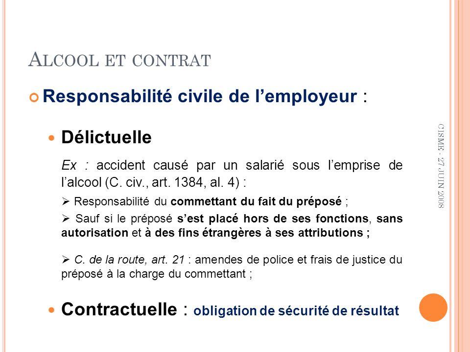 A LCOOL ET CONTRAT Responsabilité civile de lemployeur : Délictuelle Ex : accident causé par un salarié sous lemprise de lalcool (C.