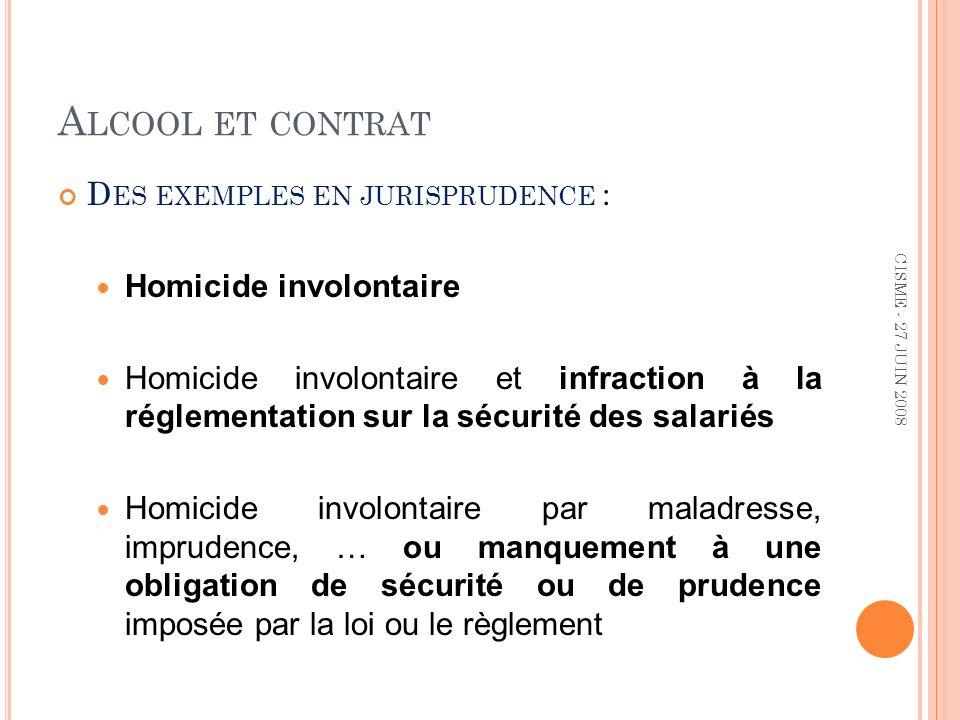 A LCOOL ET CONTRAT CONDITIONS DE RECOURS À LALCOOTEST Prévu dans le R.I.