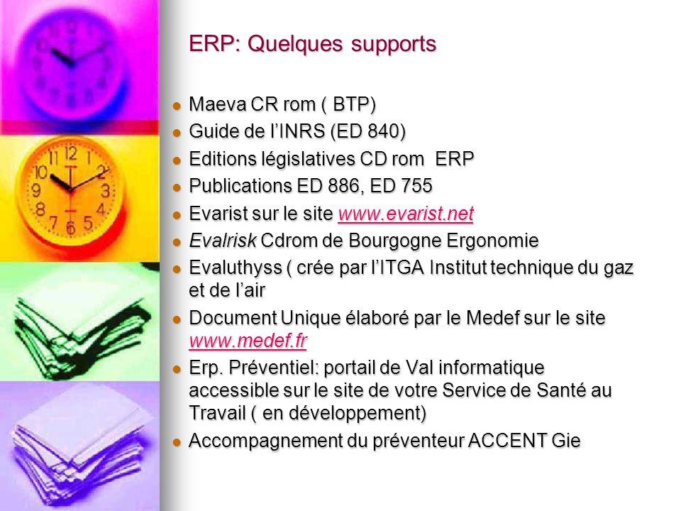 ERP: Quelques supports Maeva CR rom ( BTP) Maeva CR rom ( BTP) Guide de lINRS (ED 840) Guide de lINRS (ED 840) Editions législatives CD rom ERP Editio