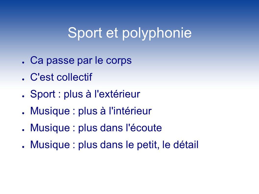 Sport et polyphonie Ca passe par le corps C'est collectif Sport : plus à l'extérieur Musique : plus à l'intérieur Musique : plus dans l'écoute Musique