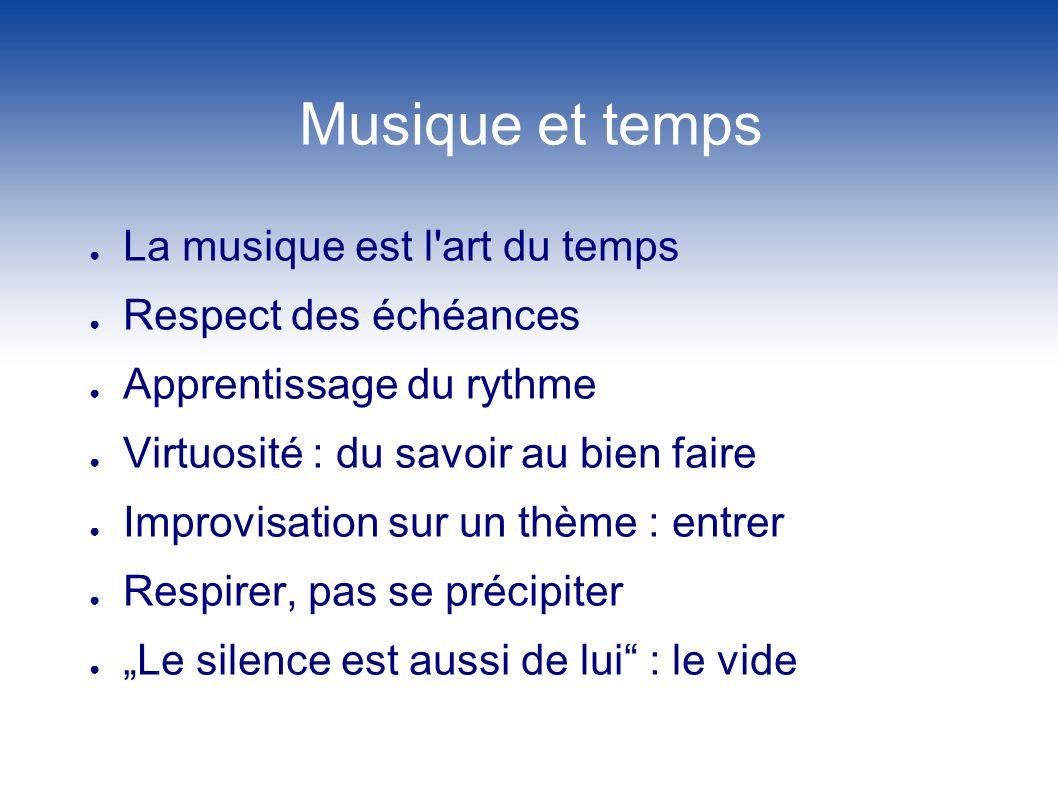Musique et temps La musique est l'art du temps Respect des échéances Apprentissage du rythme Virtuosité : du savoir au bien faire Improvisation sur un