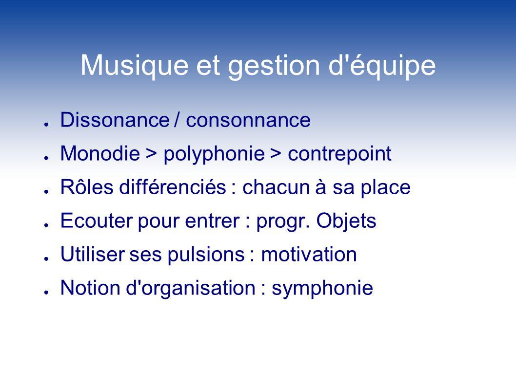 Musique et gestion d'équipe Dissonance / consonnance Monodie > polyphonie > contrepoint Rôles différenciés : chacun à sa place Ecouter pour entrer : p