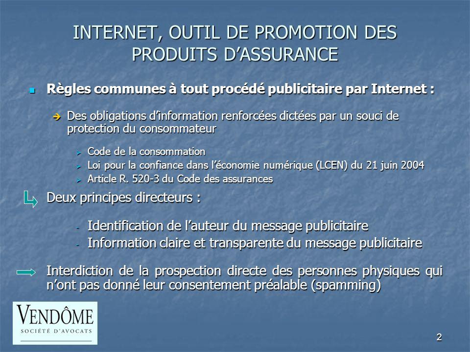 3 INTERNET, OUTIL DE COMMERCIALISATION DES PRODUITS DASSURANCE Règles spécifiques à la distribution à distance (L.