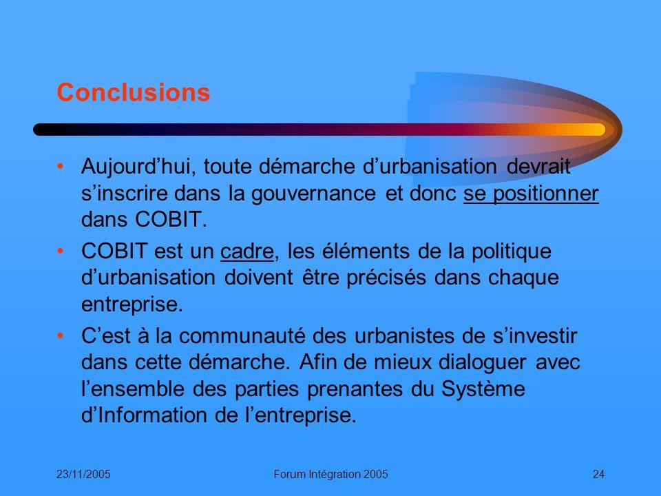 23/11/2005Forum Intégration 200524 Conclusions Aujourdhui, toute démarche durbanisation devrait sinscrire dans la gouvernance et donc se positionner d